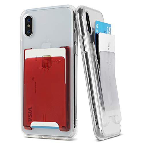Ringke Slot Card Holder [Clear Mist & Ruby Red] [2 Stück] Handy Kartenhalter Klett 3M für Galaxy Note 9, Note 8, S9, S9 Plus, iPhone X, Xs Max, Xr, iPhone 8 Plus, iPhone 7, Huawei P20, Pixel, LG Ruby Red Handy
