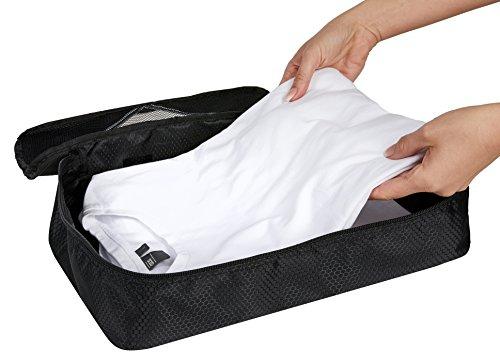 CocoTravel Packing Cubes plus Schuhbeutel | Hemdentasche Koffer | Rucksack-Organizer | Set vierteilig schwarz