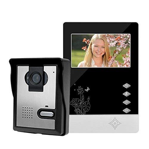 LIBO Filaire Maison vidéo interphone Sonnette 4.3inch Vision Nocturne Infrarouge 25 sonneries IP54 étanche pour système d'entrée de Porte