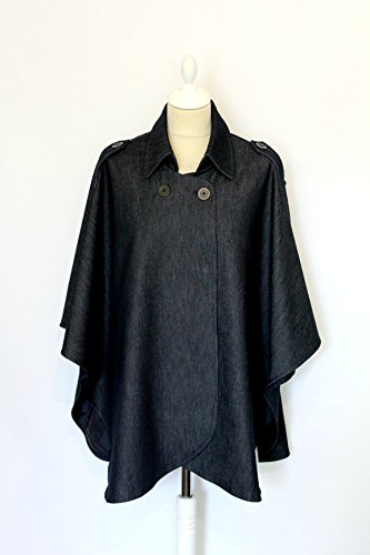 women's cotton dark denim cape, one size Womens Dark Denim