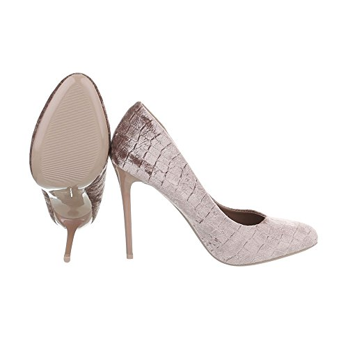 Chaussures Ital-design Pour Femme Chaussures À Talon Chaussures À Talon Stiletto Avec Talon Haut Beige 5015-112r