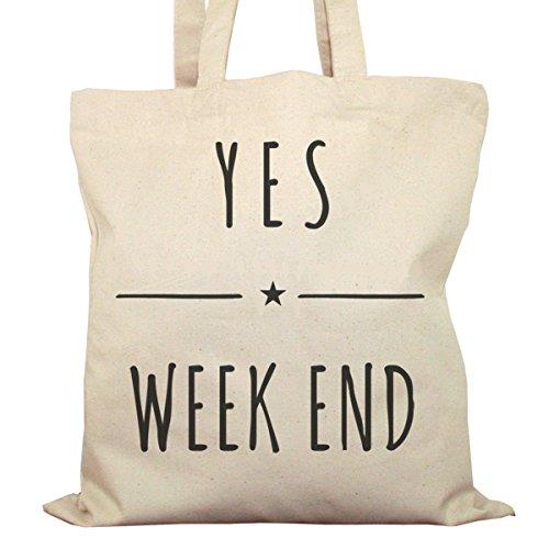 Tote Bag Imprimé Ecru - Toile en coton bio - Yes Week End !