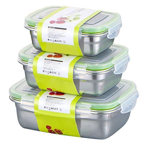 Seika confezione da 3 contenitori per alimenti con coperchio, in acciaio inox, ermetici, a prova di perdite, con chiusura a scatto