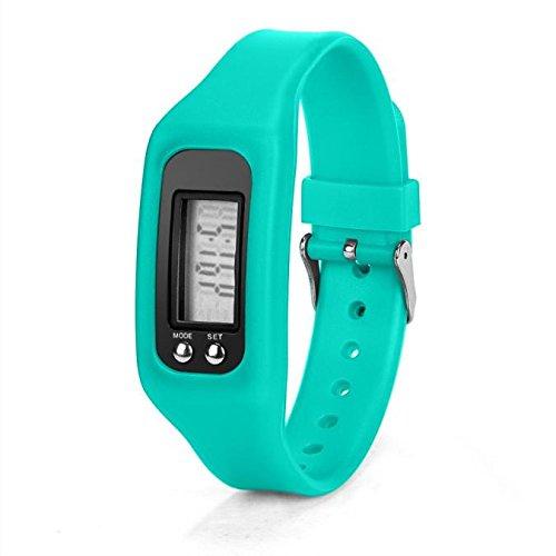 LSAltd Unisex Schrittzähler Run Schritt Walking Distance Kalorienzähler Uhr Armband Silica Armband Digitaluhr (4,5 x 3,4 x 2,2 cm) (Himmel Blau) (Himmel Kostüme)