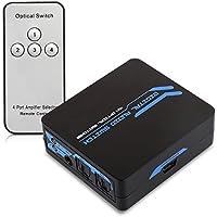 kwmobile Digital Audio Verteiler Switch - 4-facher Umschalter Adapter für optische SPDIF Toslink Audiokabel mit IR Fernbedienung - 4x1 Wandler