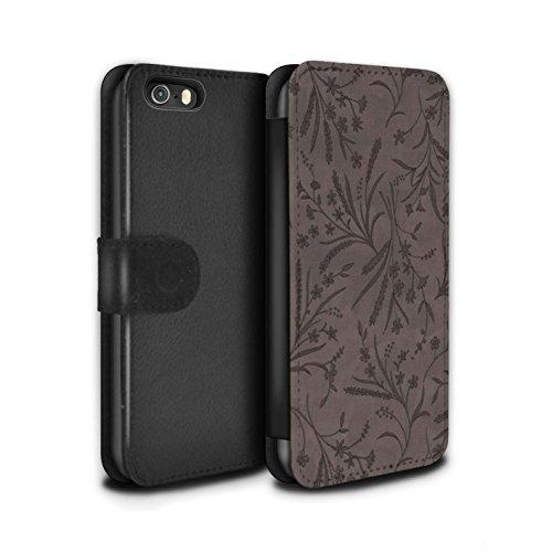 Stuff4 Coque/Etui/Housse Cuir PU Case/Cover pour Apple iPhone 5/5S / Rouge/Vert Design / Motif floral blé Collection Gris