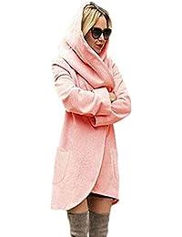 Minetom Mujer Clásicos Color Sólido Otoño Invierno Cárdigan Abrigo Hoodies Casual Sudadera Con Capucha Chaqueta De