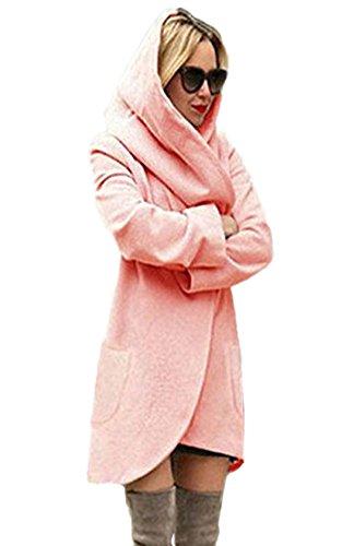 Minetom Damen Strickjacke Langarm Oversize Lang Cardigan Strickmantel Frauen Winterjacke Mantel Jacke Trenchcoat Outerwear Mit Kapuze Hoodies Rosa DE 38 -