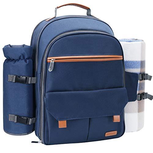Sunflora Picknick-Rucksack für 4Personen-Set Pack mit isolierter Wasserdichte Tasche für Familie Camping Outdoor Marineblau