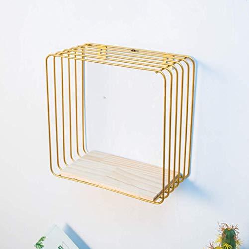 Wandregal schwimmende Regal, Wand montiert Metall schwimmende Regal, Gold Wall Display Unit mit Regalen Art Wall Bücherregal Cubes Home Decor Storage Holder, schwimmende Regale, Hom
