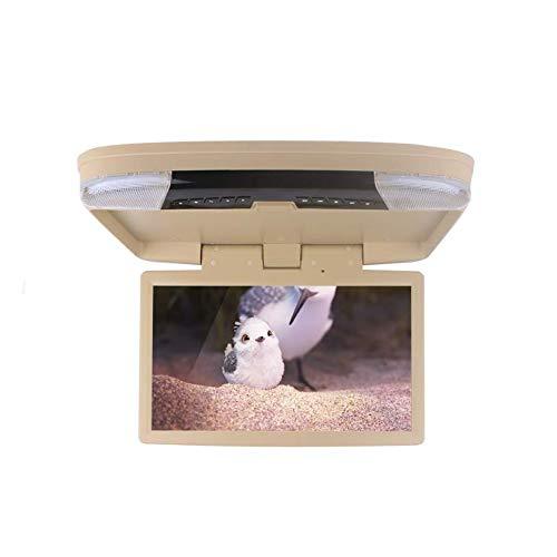 Hahaiyu 15-Zoll-Decke DVD Monitor-1080P Autodach Display, FM/IR-Sender/USB/SD/HDMI / MP5 1920 × 1080 Hohe Auflösung (Schwarz, Grau, Beige),Beige