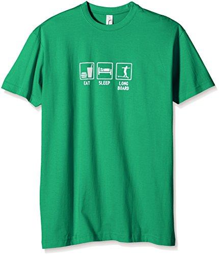Coole-Fun-T-Shirts Jungen T-Shirt Eat, Sleep, Longboard, Gr. One Size (Herstellergröße: 164cm), Grün (Green-Weiss)