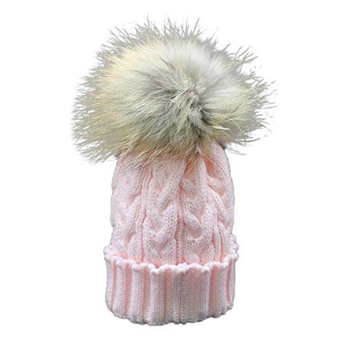Longra Kleinkind Baby Winter Häkelarbeithut Pelz Wolle Strickmütze warme Mütze (Rosa) -