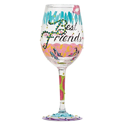 Unbekannt Lolita 4053096 Best Friends Always Wine Glass, Glas, Mehrfarbig, 8.5 x 8.5 x 22.5 cm