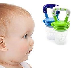 Goodplan Tétine pour bébé Creative Baby Feeders Silicone Pacifier Outil d'alimentation pour bébé Tétine souple pour utilisation de lait aux fruits des aliments 2 Pcs Vert Bleu