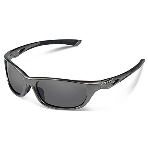 Duduma-Gafas-de-Sol-Deportivas-Polarizadas-Perfectas-Para-Esquiar-Golf-Correr-Ciclismo-con-el-Marco-Du646-Irrompible-Para-Hombre-y-Para-Mujer-marco-gris-plata-con-lente-negro