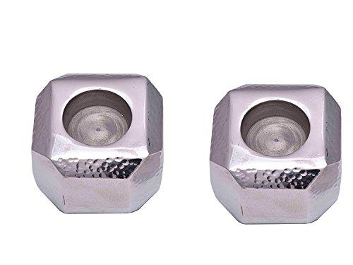 Sammsara Set von 2Sqaure Aluminium gehämmert weihgabe Handgefertigt Kerzenhalter für Duft & Aromatherapie-Home Office Kaminuhr Decor