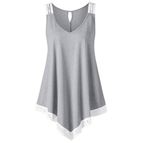 MOIKA Damen Tank Tops, New Mode Damen Casual V-Ausschnitt Swing Lace Asymmetrische Solide Weste Tank Tops Bluse(S,Grau) (Leinen Für Hose Tops)