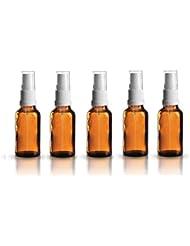 5 x Braunglasflasche 30ml / Sprühflasche inkl. Pumpzerstäuber / Sprühkopf weiss DIN 18 mit Schutzkappe