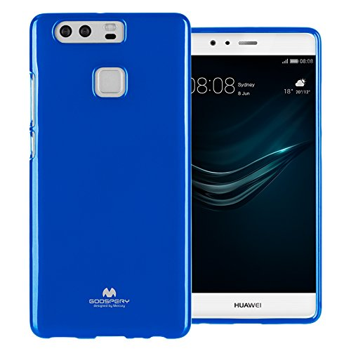 Mercury Marlang Marlang Huawei P9 Hülle/Gratis Displayschutzfolie [Slim Fit] TPU Case [Flexible] Pearl Jelly [Schutz] Bumper Cover für Huawei P9, Marineblau Verizon Wireless Pearl