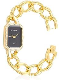 Strada Japenese movimiento negro Dial blanco cristal austriaco Studded resistente al agua reloj en oro tono y tuerca de acero inoxidable con correa de cadena
