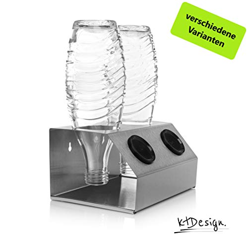 Premium SodaStream Abtropfhalter aus Edelstahl für 2 Flaschen - Flaschenhalter mit Abtropfboden und praktischer Deckelhalterung für SodaStream Crystal, Emil- und Glasflaschen, Made in Germany
