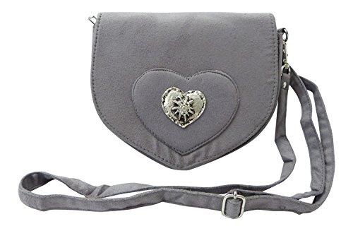 SR Elegante Trachtentasche im Wildleder-Look - Dirndltasche mit Herz Edelweiss Applikation fürs Dirndl (grau)