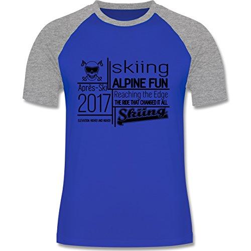 Après Ski - Skiing Alpine Fun 2017 - zweifarbiges Baseballshirt für Männer Royalblau/Grau meliert