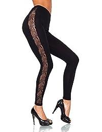 FUTURO FASHION Unique Full Length Cotton Leggings with Lace Stripe All Sizes Trousers Elagent Fashion Pants 8-20 UK LPL