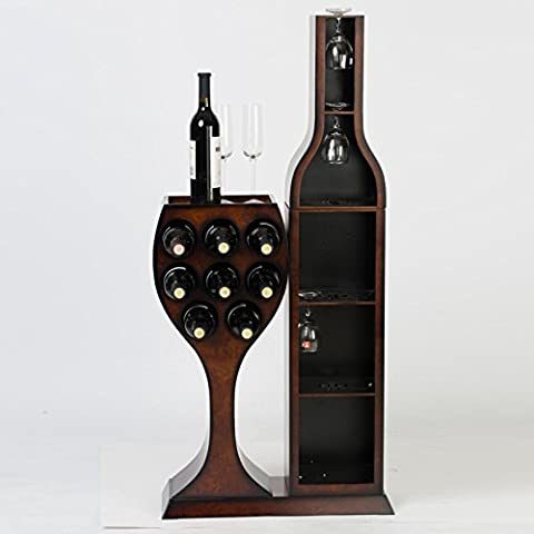 estante del vino europeo botellero buque retro cubo de madera que cuelga de cristal / de largo los 54CM anchura de 18 cm de altura