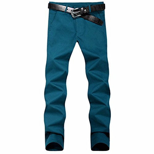 Men's Casual Slim Fit Skinny Cotton Trousers blue