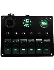 Bateau de voiture Marine Switch Panel 6Guang, Teqstone LED Rocker Switch Panel vierges avec les Disjoncteurs & Digital Voltmètre + 12V Prise allume-cigare & USB Adaptateur chargeur d'alimentation (Vert, bleu, blanc, rouge)