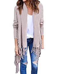 39e9fd36874f64 LAEMILIA Damen Lang Cardigan mit Fransen Outwear Asymmetrisch Strickjacke  Strick Oberteil Mantel Pullover Herbst