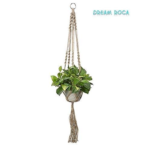 Plante Cintre macramé 101,6cm jambe avec perles Best recommandé Cintre Corde intérieur ou extérieur pour terrasse plafond Pots polyvalent fait main–plante Suspension gris