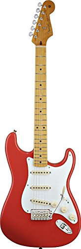 Fender 0131002304Classic Series '50s Stratocaster Ahorn Griffbrett E-Gitarre–Daphne blue-p Volle Größe Fiesta Red