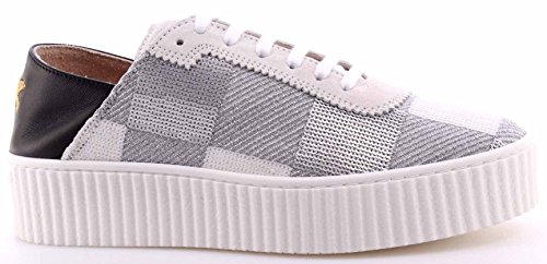 Scarpe Donna Sneakers PINKO Shine Baby Ungherse Paillettes Bianco Argento Nuove