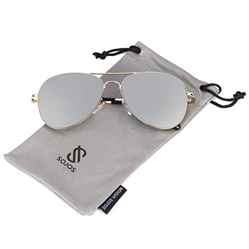 SOJOS Mode Metallrahmen Verspiegelt Linse Herren Damen Sonnenbrille mit Frühlings Scharnieren SJ1030 mit Gold Rahmen/Silber Linse