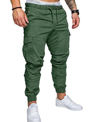 SOMTHRON Uomo Cintura elastica cotone lungo da jogging Pantaloni sportivi taglie forti Pantalone sportivo da lavoro con pantaloncini Pantaloni da