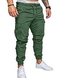 SOMTHRON Homme Ceinture élastique à long coton Jogging pantalons de  survêtement Plus la taille Mode Sport c07a2b78257a