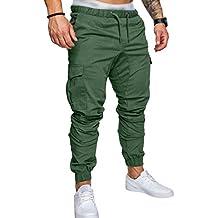 SOMTHRON Hombre Cinturón de cintura elástico Pantalones de chándal de  algodón largo Jogging Pantalones de carga db3bda8f7fdf1