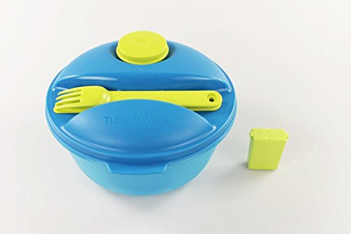 TUPPERWARE To Go Salat&Go 1,5L blau limette + Würzling 25ml grün C72