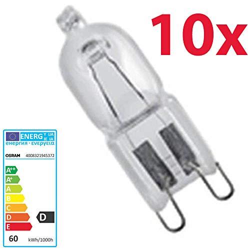 10 Stück Osram Halopin Halogen-Stiftsockellampe 230V G9 (60 Watt)
