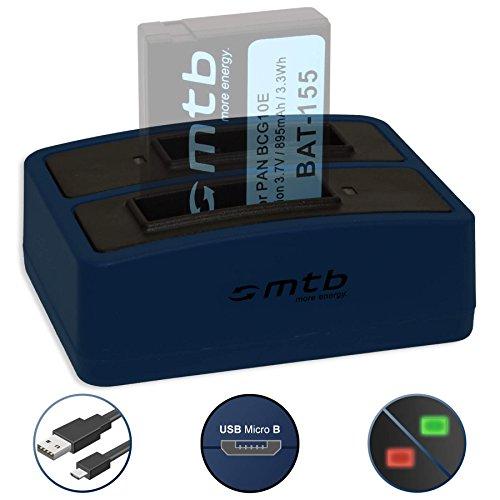 Mini-Dual-Ladegerät (USB) für DMW-BCG10(E) | Panasonic Lumix DMC-TZ10, TZ18, TZ20, TZ25, TZ27, TZ30, TZ31, TZ65 | ZS6, ZS7, ZS8, ZS9, ZS10, ZS15, ZS20…. - s. Liste! (inkl. Micro-USB-Kabel