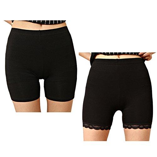 Liang Rou Damen Elasthan kurz Leggings 2-Pack Farbe Schwarz L (Size Röcke Kurze Plus)