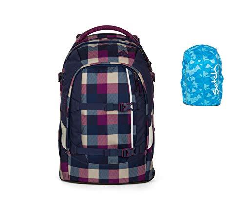 Satch Set Berry Carry Schulrucksack Pack Regenhülle blau