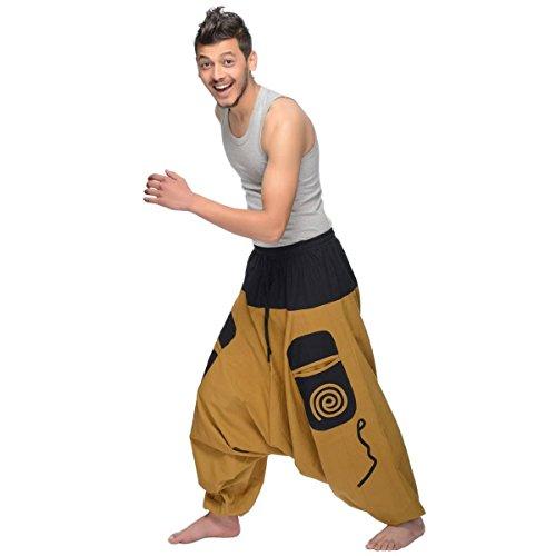 Haremshose Pumphose Aladinhose Pluderhose Yoga Goa Sarouel Baggy Aladin Freizeithose Simandra Herren (Braun, S/M) - Bild 1