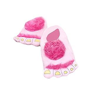 AIHOME aihometm Unisex Winter Warm Hausschuhe mit Fashion Big Hairy Savage Monster Hobbit Füße Innen-Schuhe (Größe: 32* 11cm) Rose