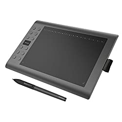 GAOMON M106K - 10 x 6 Zoll Profi Grafiktablett mit 12+16 Programmierender Tasten und Kabellosem Stift