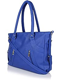 Flora Premium PU Leather Women's Handbag With Adjustable Strap (Blue Color)