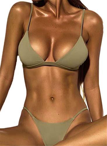 Internet Damen Sexy Split Badeanzug Swimwear Bikini Push up Bandeau Neckholder Strand Fluoreszenz Bademode Swimsuit Bandage Tankini Beachwer Shorts Oberteil Tops und Bottoms Set (Grün, M)